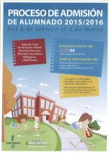 PROCESO DE ADMISIÓN DE ALUMNADO 2015/2016
